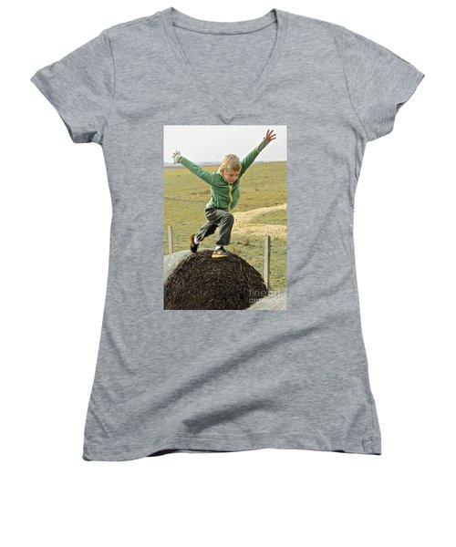 Jumping Haystacks Women's V-Neck T-Shirt (Junior Cut) by Suzanne Oesterling