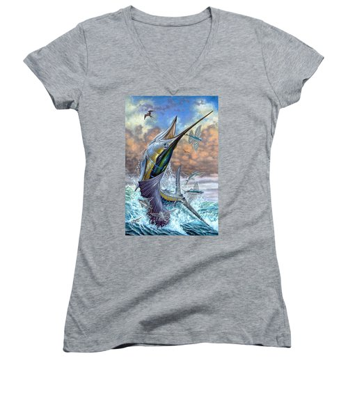 Jumping Sailfish And Flying Fishes Women's V-Neck T-Shirt