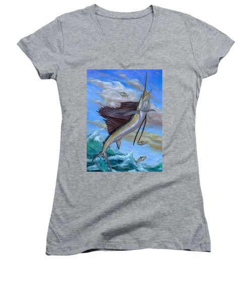 Jumping Sailfish Women's V-Neck
