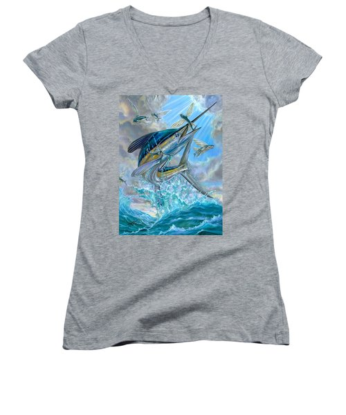 Jumping White Marlin And Flying Fish Women's V-Neck T-Shirt