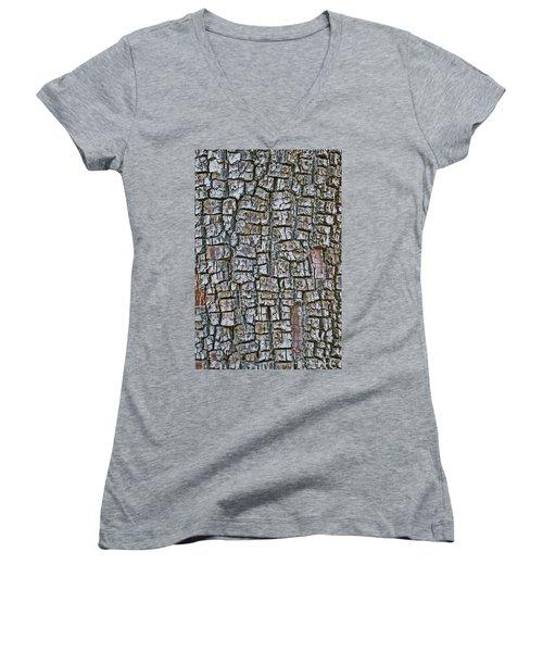 Juniper Bark- Texture Collection Women's V-Neck T-Shirt (Junior Cut) by Tom Janca