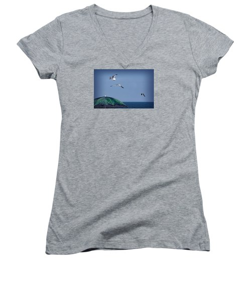 Women's V-Neck T-Shirt (Junior Cut) featuring the photograph Just Another Day At The Beach by Phil Mancuso