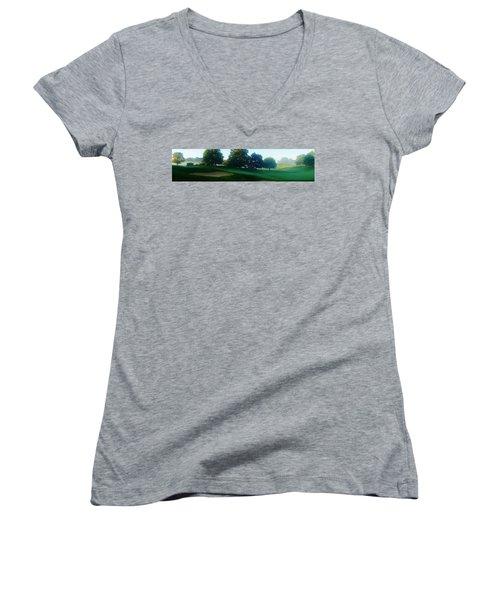 Just Off The Green Women's V-Neck T-Shirt (Junior Cut) by Daniel Thompson