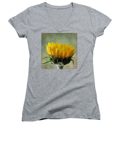 Just Opening Sunflower Women's V-Neck T-Shirt (Junior Cut) by Denyse Duhaime