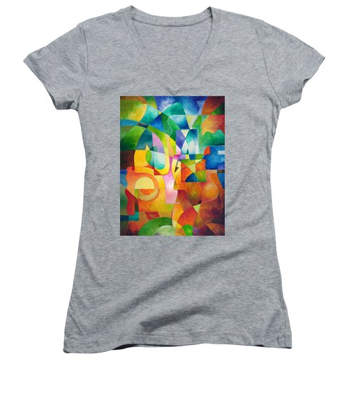 Just Outside Women's V-Neck T-Shirt (Junior Cut) by Sally Trace