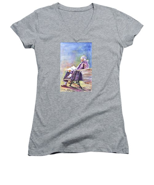 Just Passing The Time Away Women's V-Neck T-Shirt (Junior Cut) by Carol Wisniewski