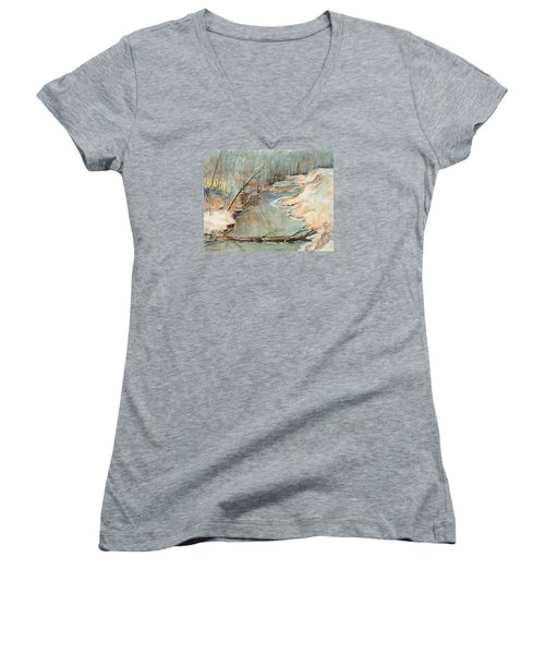 Just Resting Women's V-Neck T-Shirt (Junior Cut) by Lee Beuther