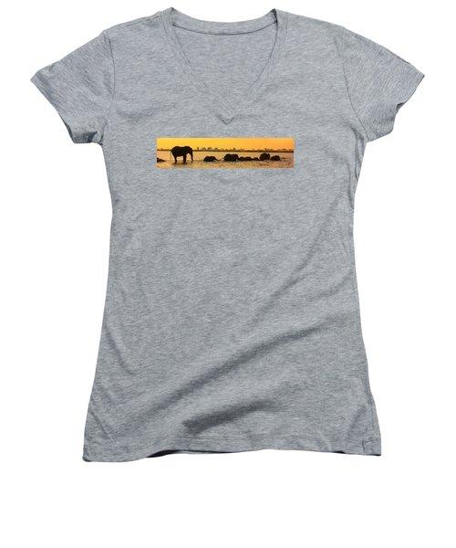 Women's V-Neck T-Shirt (Junior Cut) featuring the photograph Kalahari Elephants Crossing Chobe River by Amanda Stadther