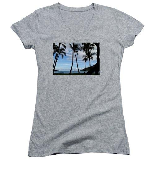Kalapaki Beach Kauai Women's V-Neck (Athletic Fit)