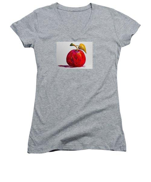 Kaleidoscope Apple -- Or -- Apple For The Teacher  Women's V-Neck T-Shirt (Junior Cut) by Eloise Schneider