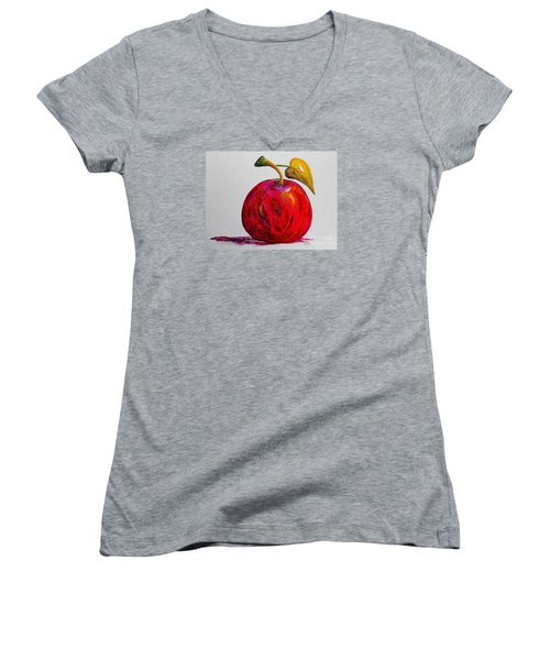Kaleidoscope Apple -- Or -- Apple For The Teacher  Women's V-Neck T-Shirt