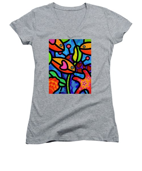 Kaleidoscope Reef Women's V-Neck T-Shirt