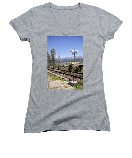 Kalispell Crossing Women's V-Neck T-Shirt (Junior Cut) by Fran Riley