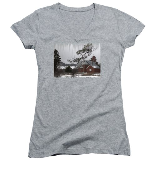 Kansas Church Women's V-Neck T-Shirt (Junior Cut) by Liane Wright