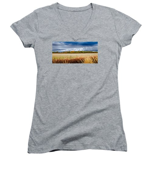 Kansas Fall Landscape Women's V-Neck T-Shirt