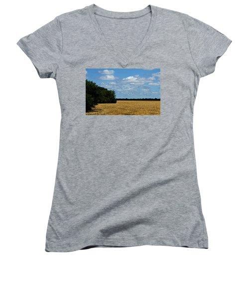 Kansas Fields Women's V-Neck T-Shirt (Junior Cut) by Jeanette C Landstrom
