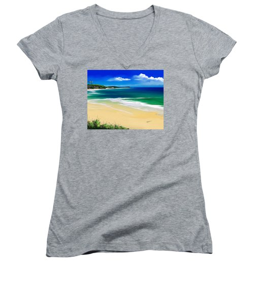 Women's V-Neck T-Shirt (Junior Cut) featuring the digital art Kauai Beach Solitude by Anthony Fishburne