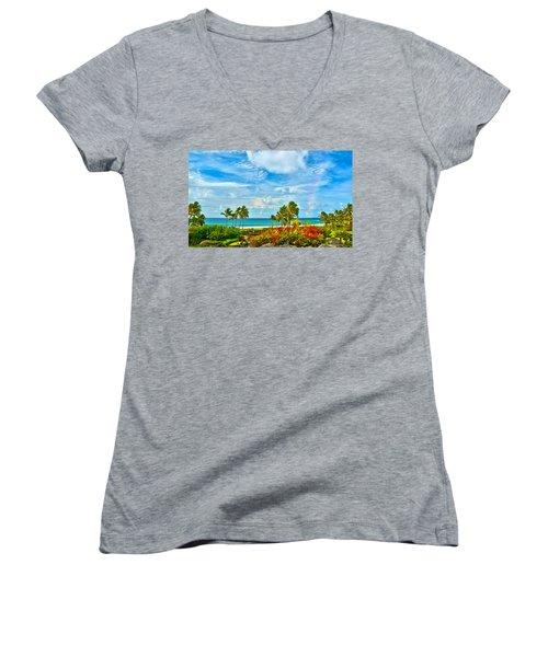 Kauai Bliss Women's V-Neck T-Shirt (Junior Cut) by Marie Hicks