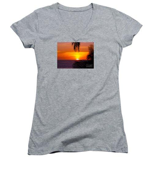 Kauai Sunset Women's V-Neck T-Shirt (Junior Cut) by Patricia Griffin Brett