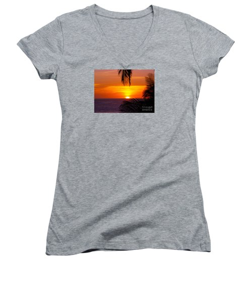 Kauai Sunset Women's V-Neck (Athletic Fit)