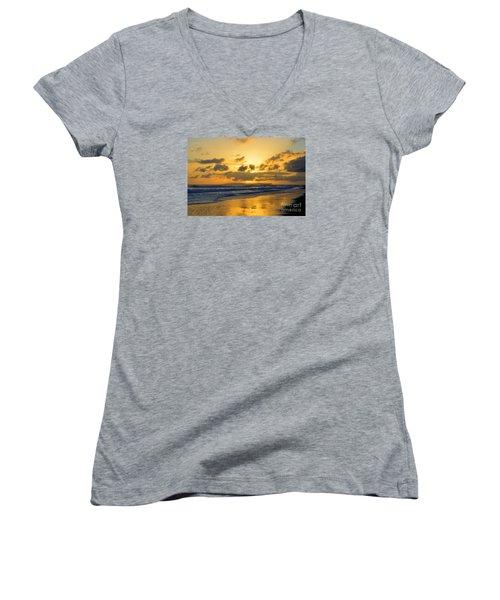 Kauai Sunset With Niihau On The Horizon Women's V-Neck T-Shirt (Junior Cut)