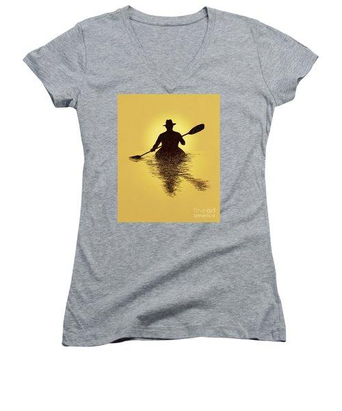 Kayaker Sunset Women's V-Neck T-Shirt (Junior Cut) by Garry McMichael