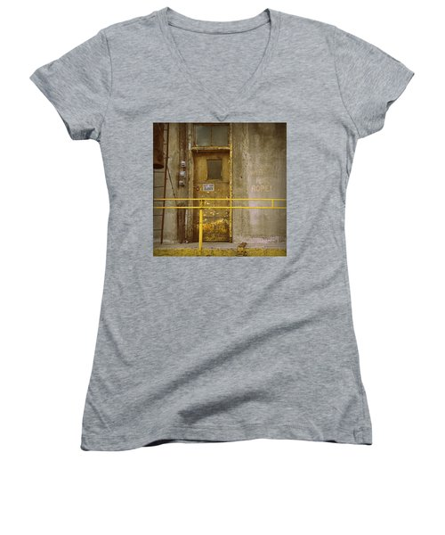 Women's V-Neck T-Shirt (Junior Cut) featuring the photograph Keep Door Closed by Joseph Skompski