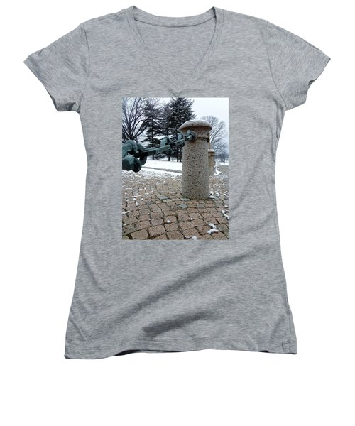 Women's V-Neck T-Shirt (Junior Cut) featuring the photograph Keep Out by Michael Porchik