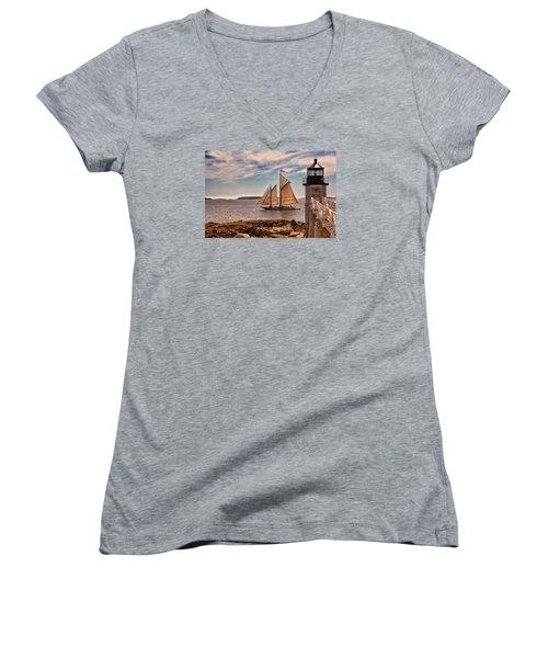 Keeping Vessels Safe Women's V-Neck T-Shirt (Junior Cut) by Karol Livote