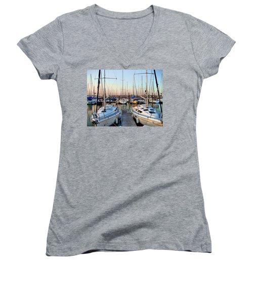 Kemah Boardwalk Marina Women's V-Neck T-Shirt (Junior Cut) by Savannah Gibbs