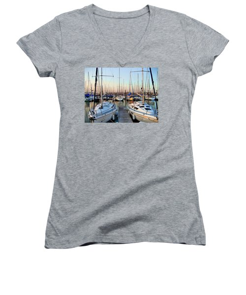 Kemah Boardwalk Marina Women's V-Neck (Athletic Fit)