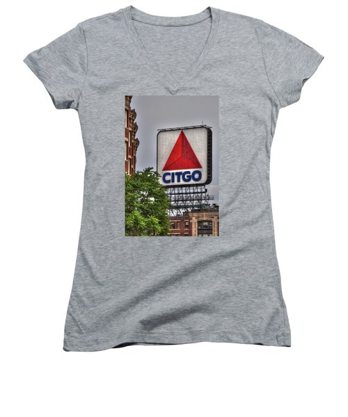 Kenmore Square And The Citgo Sign Women's V-Neck T-Shirt