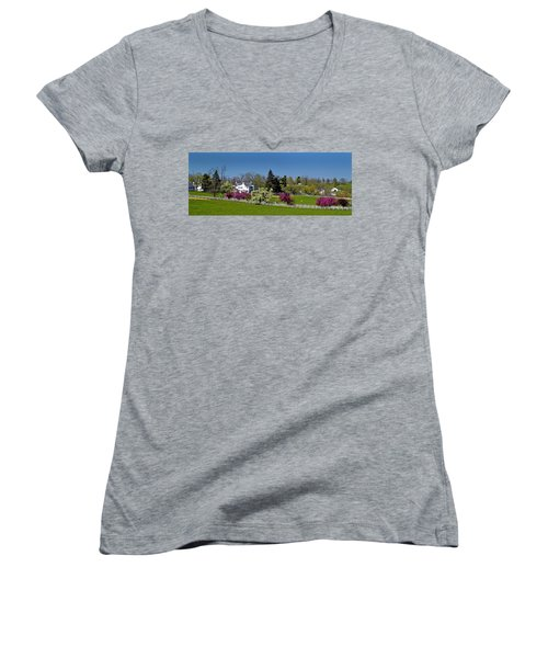 Kentucky Horse Farm Women's V-Neck T-Shirt (Junior Cut) by Randall Branham