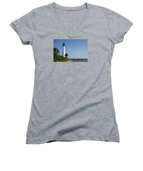Women's V-Neck T-Shirt (Junior Cut) featuring the photograph Key Biscayne Lighthouse by Christiane Schulze Art And Photography