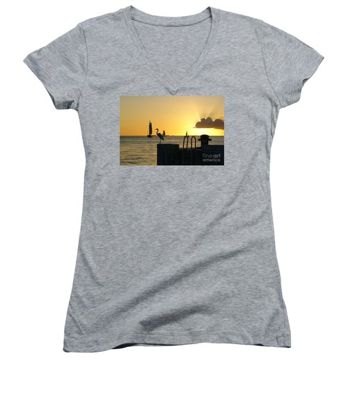 Women's V-Neck T-Shirt (Junior Cut) featuring the photograph Key West Sunset by Olga Hamilton