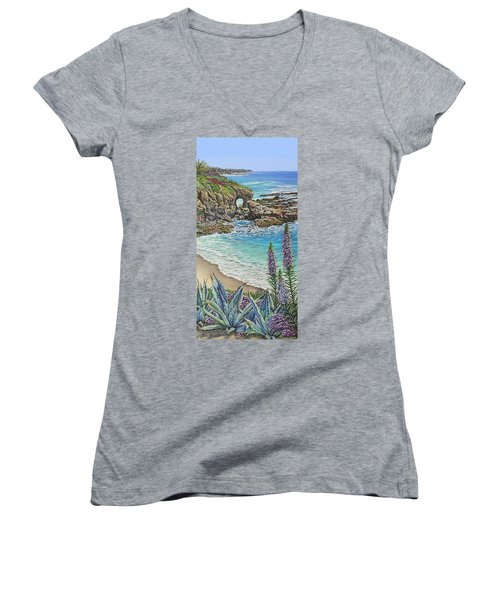 Keyhole Rock Laguna Women's V-Neck T-Shirt