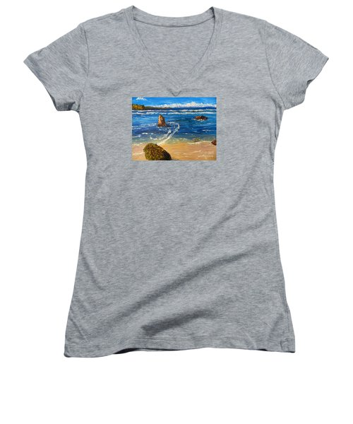 Women's V-Neck T-Shirt (Junior Cut) featuring the painting Kiama Beach by Pamela  Meredith