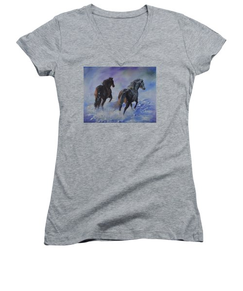 Kicking Up Snow Women's V-Neck (Athletic Fit)