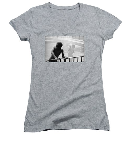 Kid In Sprinkler Women's V-Neck
