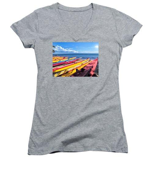 Women's V-Neck T-Shirt (Junior Cut) featuring the photograph Kihei Canoe Club 6 by Dawn Eshelman