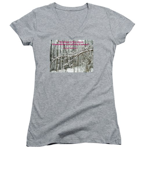 Women's V-Neck T-Shirt (Junior Cut) featuring the photograph Kindness Is Like Snow by Emmy Marie Vickers