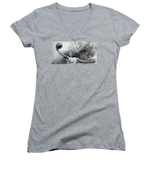 King James Lebron Women's V-Neck T-Shirt (Junior Cut) by Ylli Haruni