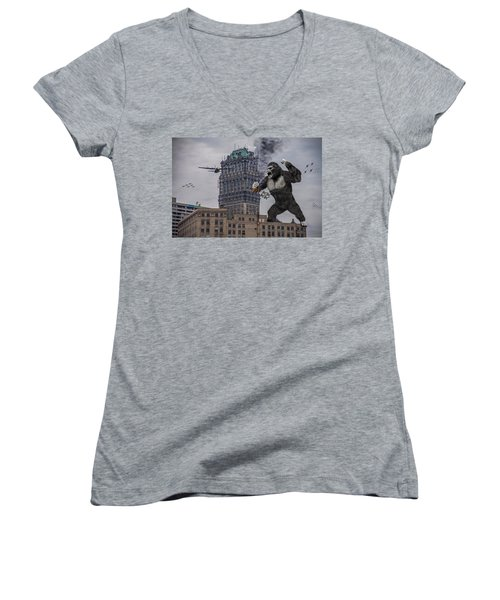 Women's V-Neck T-Shirt (Junior Cut) featuring the photograph King Kong In Detroit At Wurlitzer by Nicholas  Grunas