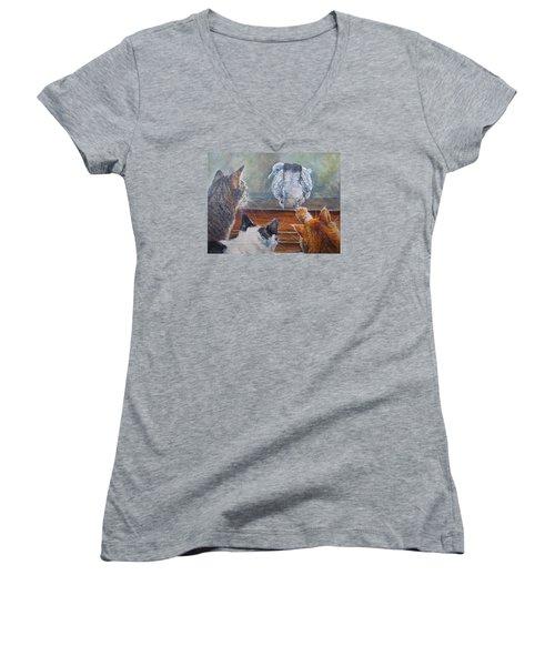Women's V-Neck T-Shirt (Junior Cut) featuring the painting Kiss My Assssssss by Donna Tucker