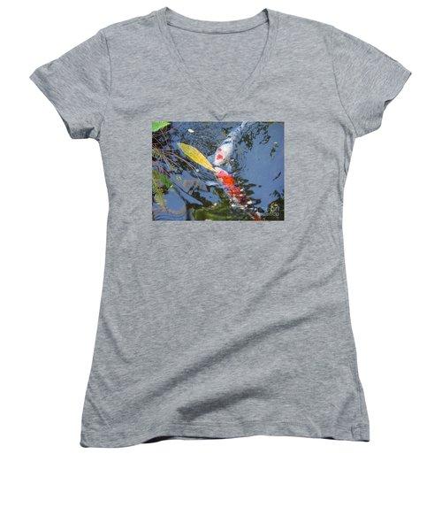 Kissin' Koi Women's V-Neck T-Shirt (Junior Cut) by HEVi FineArt