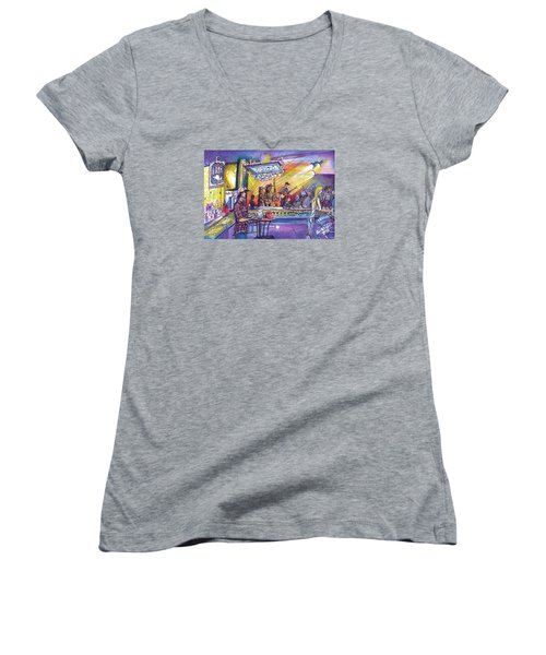 Women's V-Neck T-Shirt (Junior Cut) featuring the painting Kitchen Dwellers  by David Sockrider
