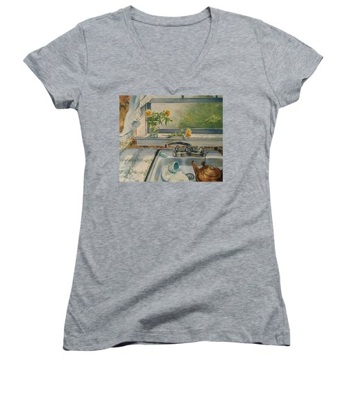 Kitchen Sink Women's V-Neck T-Shirt (Junior Cut) by Joy Nichols