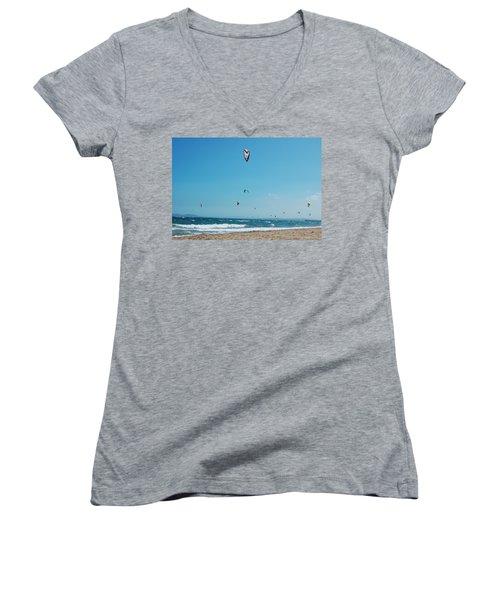 Kitesurf Lovers Women's V-Neck T-Shirt (Junior Cut) by Gina Dsgn