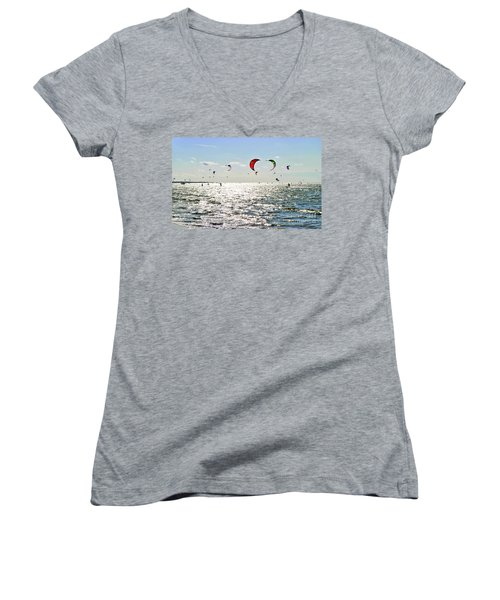 Kitesurfing In The Sun Women's V-Neck T-Shirt