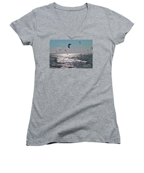 Kitesurfing Women's V-Neck T-Shirt